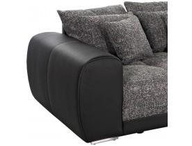 Grand canapé droit 'BYOUTY' noir 4 places en similicuir et tissu chenille