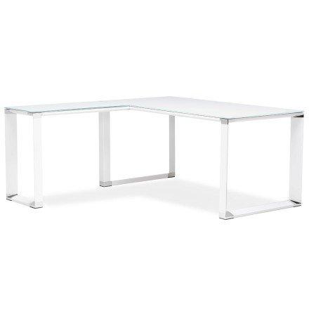 Bureau de direction en angle design 'XLINE' en verre blanc