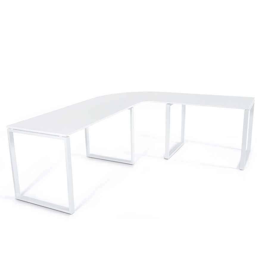Bureau d´angle ´ALASKA´ en bois blanc design (angle au choix)