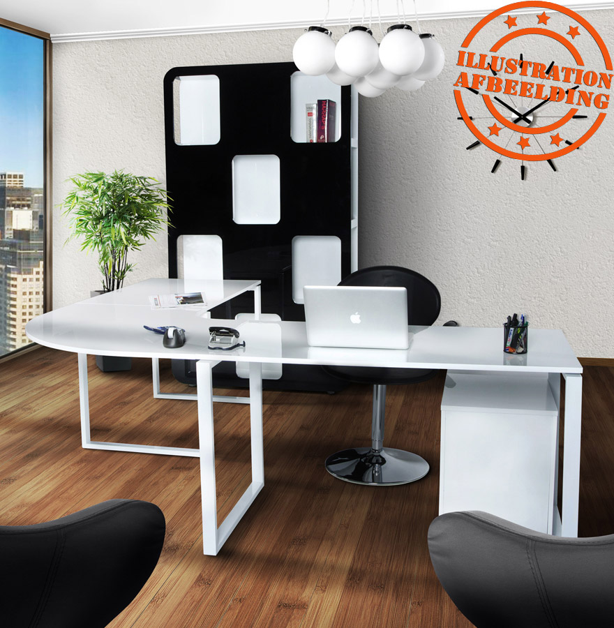 bureau d 39 angle alaska en bois blanc laqu design bureau. Black Bedroom Furniture Sets. Home Design Ideas