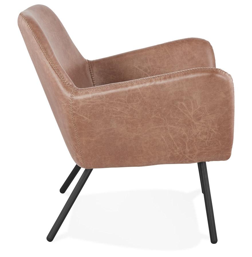 Fauteuil lounge design ´AMERIKA´ en matière synthétique brune