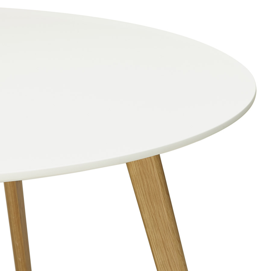 Table de cuisine ronde amy blanche style scandinave Table ronde scandinave blanche