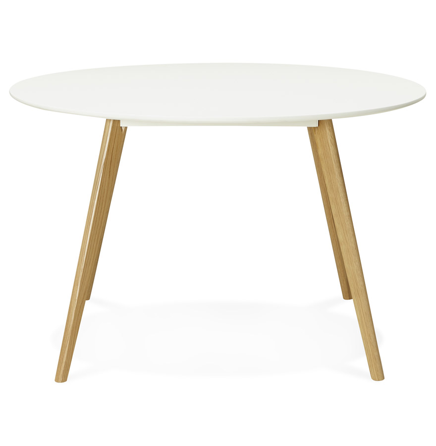 Table de cuisine ronde ´AMY´ blanche style scandinave - Ø 120 cm