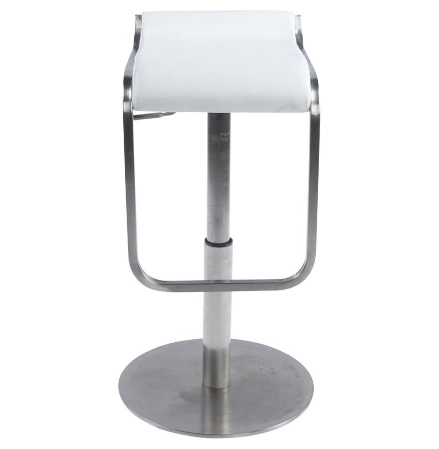 astro white newsite 03 - Tabouret de bar design ´ASTRO´ en matière synthétique blanche et métal brossé