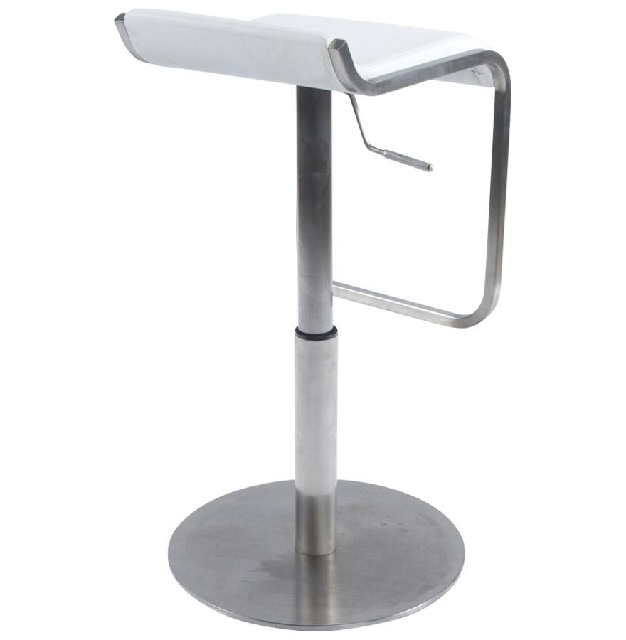 astro white newsite 07 - Tabouret de bar design ´ASTRO´ en matière synthétique blanche et métal brossé