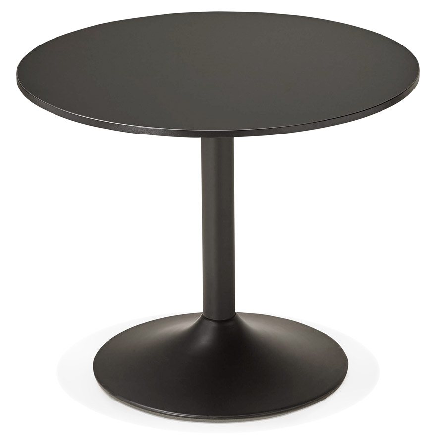 Table de bureau ronde noire atlanta 90 cm table diner for Petite table basse noire