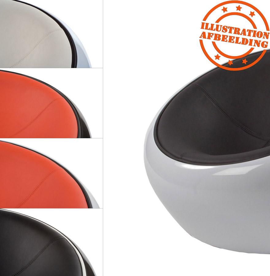 bolvormige loungezetel atmo uit zwart imitatieleder met witte zitschaal. Black Bedroom Furniture Sets. Home Design Ideas