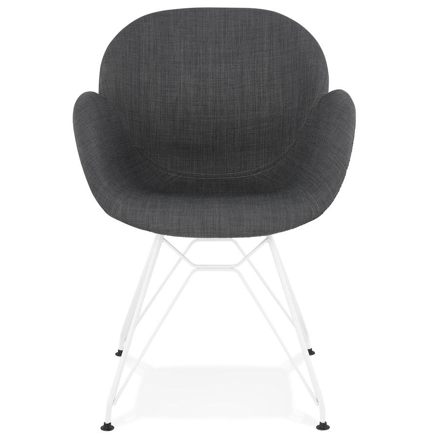 Chaise moderne ´ATOL´ en tissu gris foncé avec pieds en métal blanc
