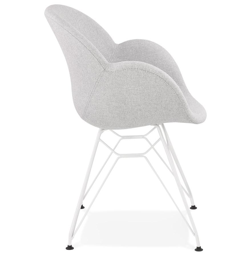 Chaise moderne ´ATOL´ en tissu gris clair avec pieds en métal blanc