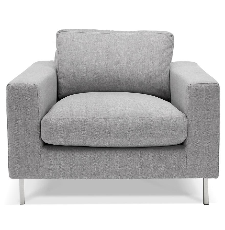 fauteuil de salon 1 place moderne augustin mini en tissu gris clair. Black Bedroom Furniture Sets. Home Design Ideas