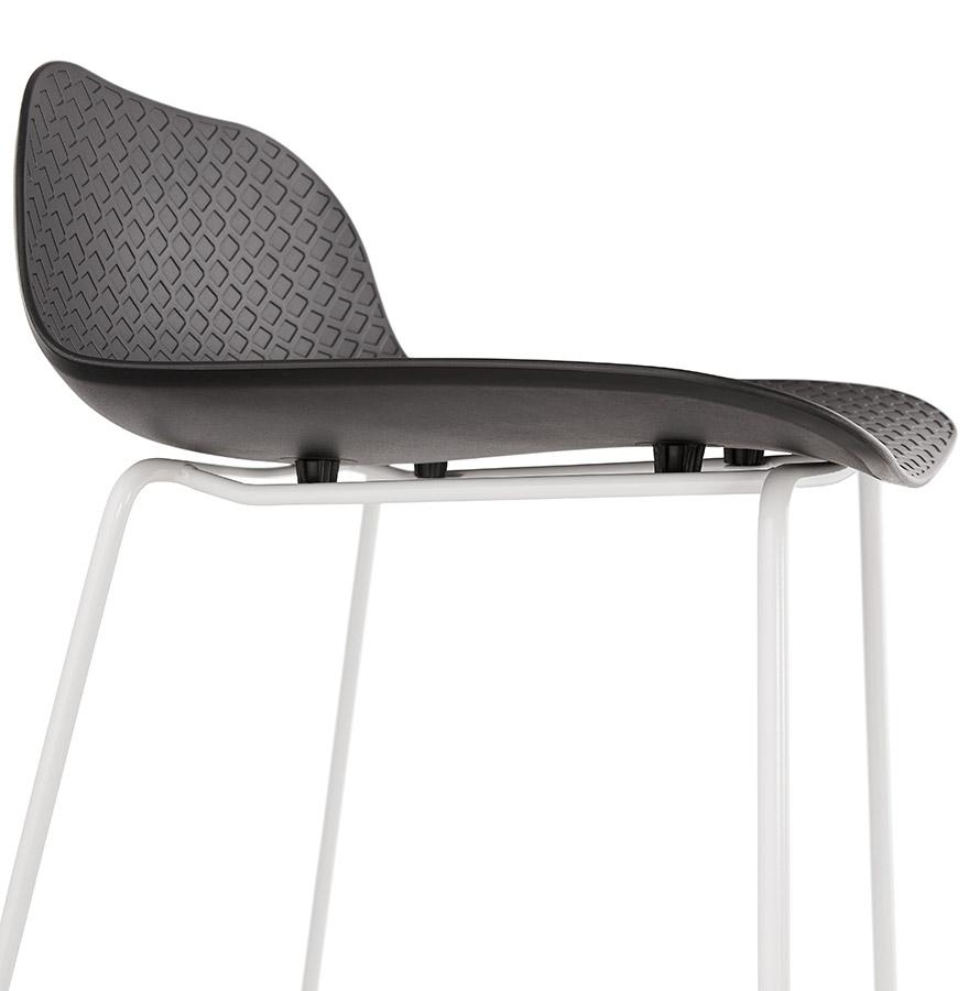 tabouret de bar babylos noir avec pied blanc tabouret design. Black Bedroom Furniture Sets. Home Design Ideas
