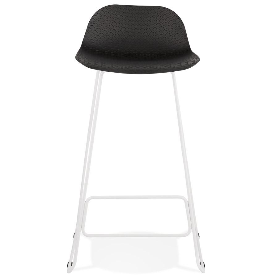Tabouret de bar design ´BABYLOS´ noir avec pieds en métal blanc