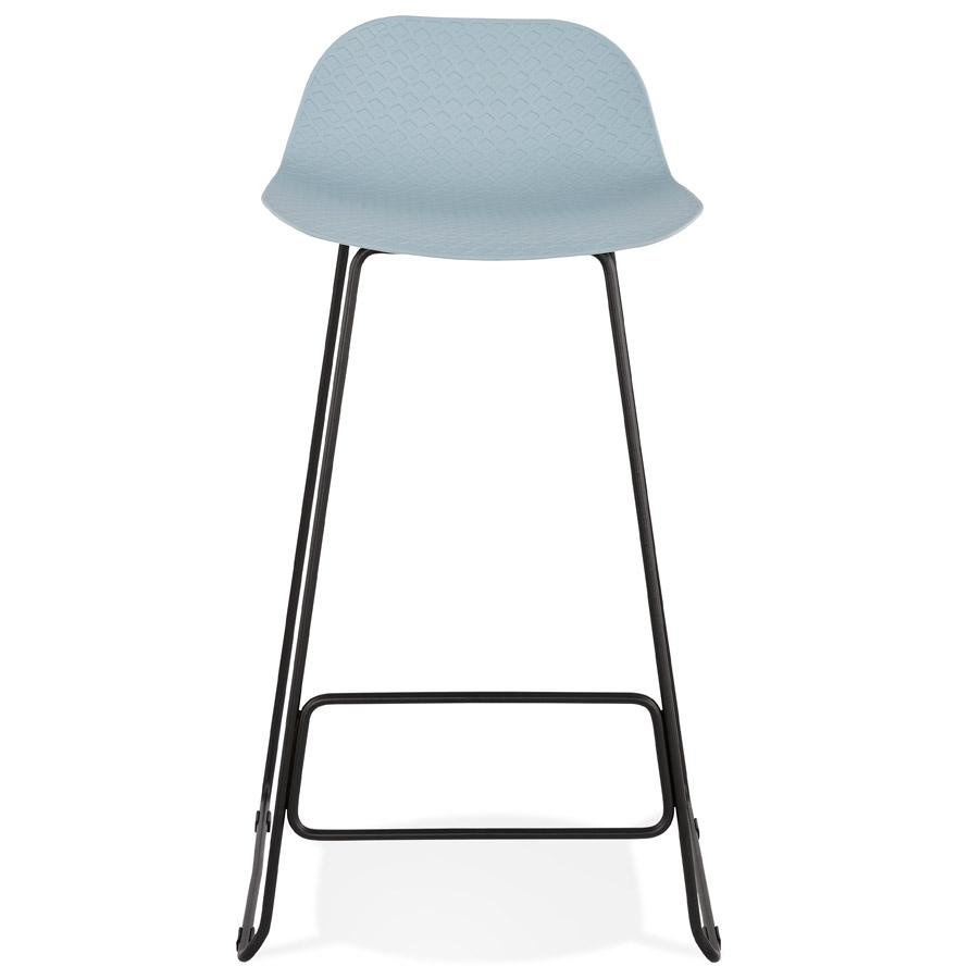 Tabouret de bar design ´BABYLOS´ bleu avec pieds en métal noir