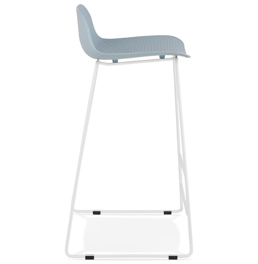 Tabouret de bar design ´BABYLOS´ bleu avec pieds en métal blanc