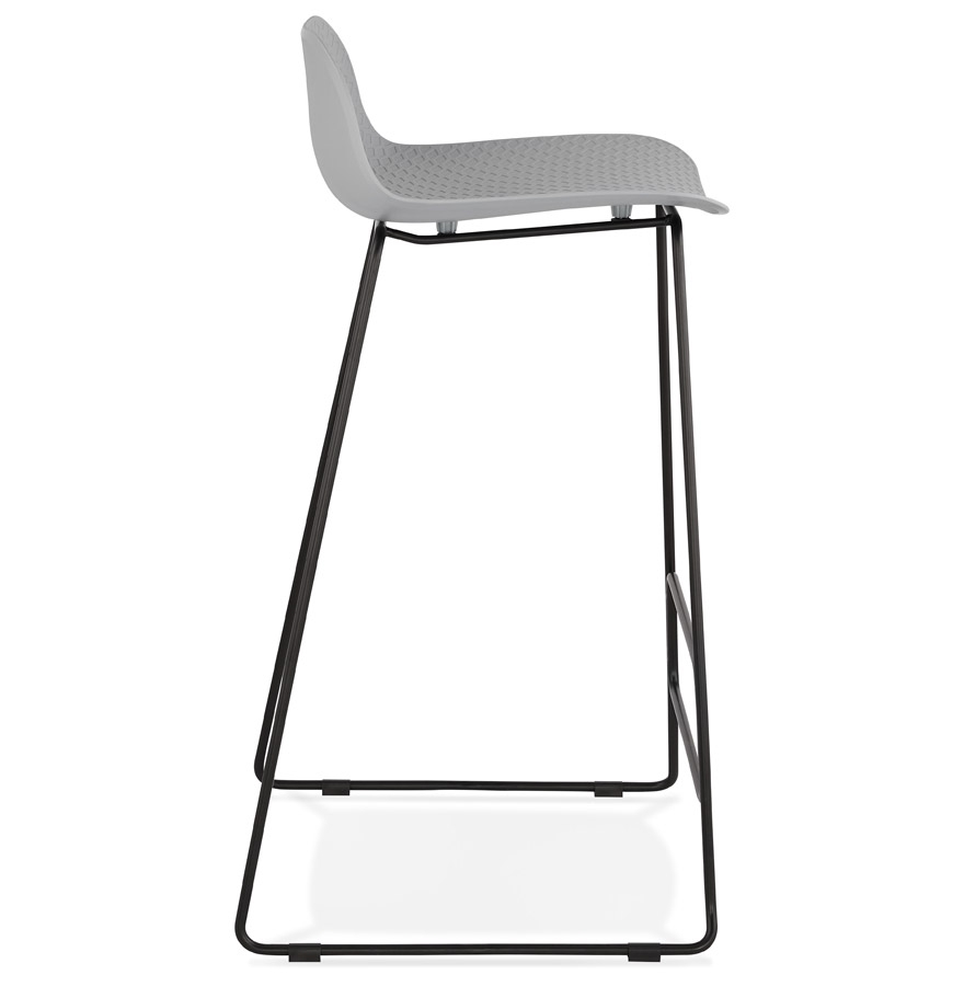 Tabouret de bar design ´BABYLOS´ gris avec pieds en métal noir