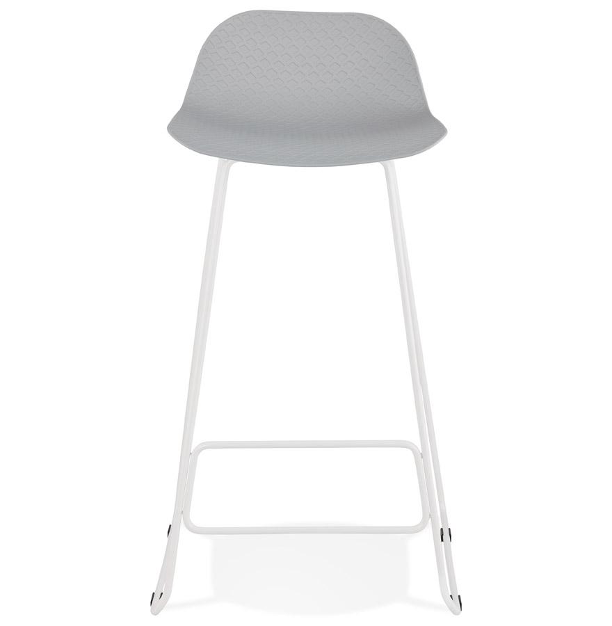 Tabouret de bar design ´BABYLOS´ gris avec pieds en métal blanc