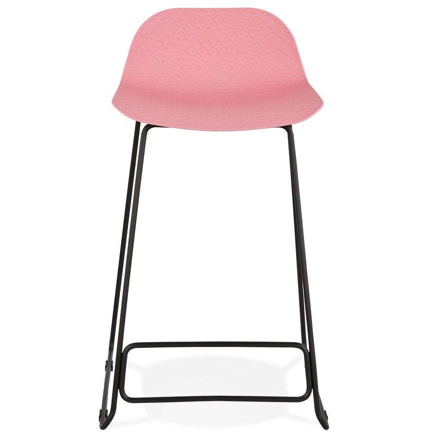 babylos mini pink black h2 02 - Tabouret snack mi-hauteur ´BABYLOS MINI´ rose avec pieds en métal noir