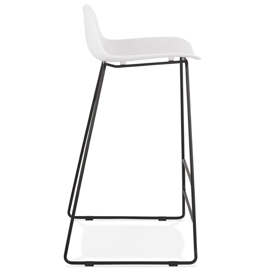 Tabouret de bar design ´BABYLOS´ blanc avec pieds en métal noir