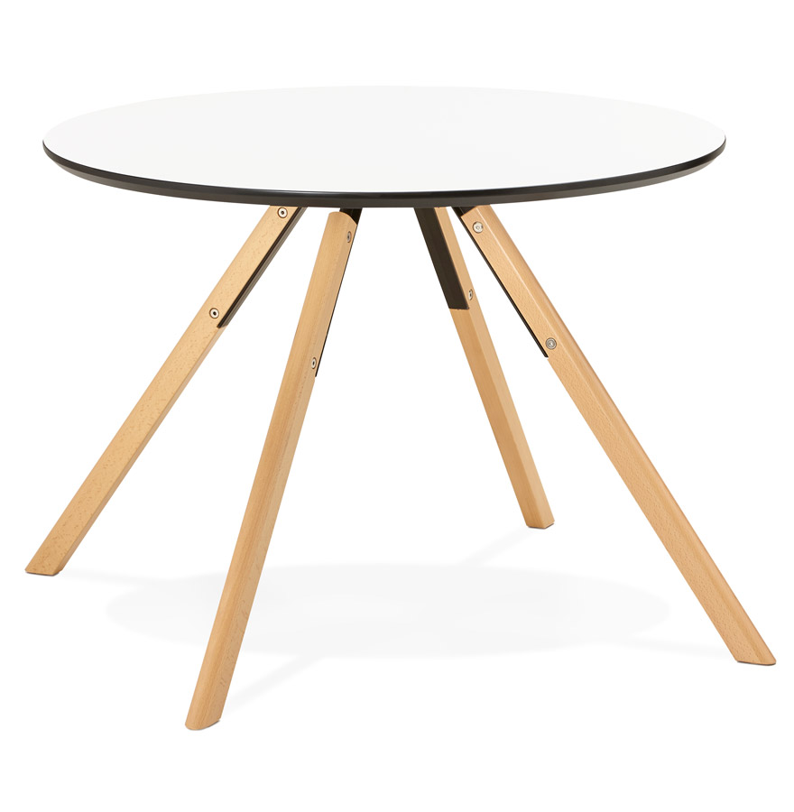 balkan white h2 01 - Table de cuisine ronde ´BALKAN´ blanche style scandinave - Ø 100 cm