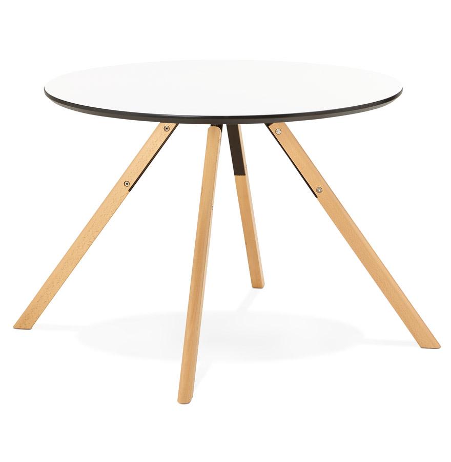 balkan white h2 02 - Table de cuisine ronde ´BALKAN´ blanche style scandinave - Ø 100 cm