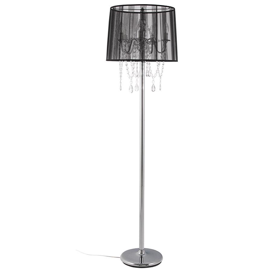 Lampadaire chandelier baroque BAROK´ à pampilles tissu noir