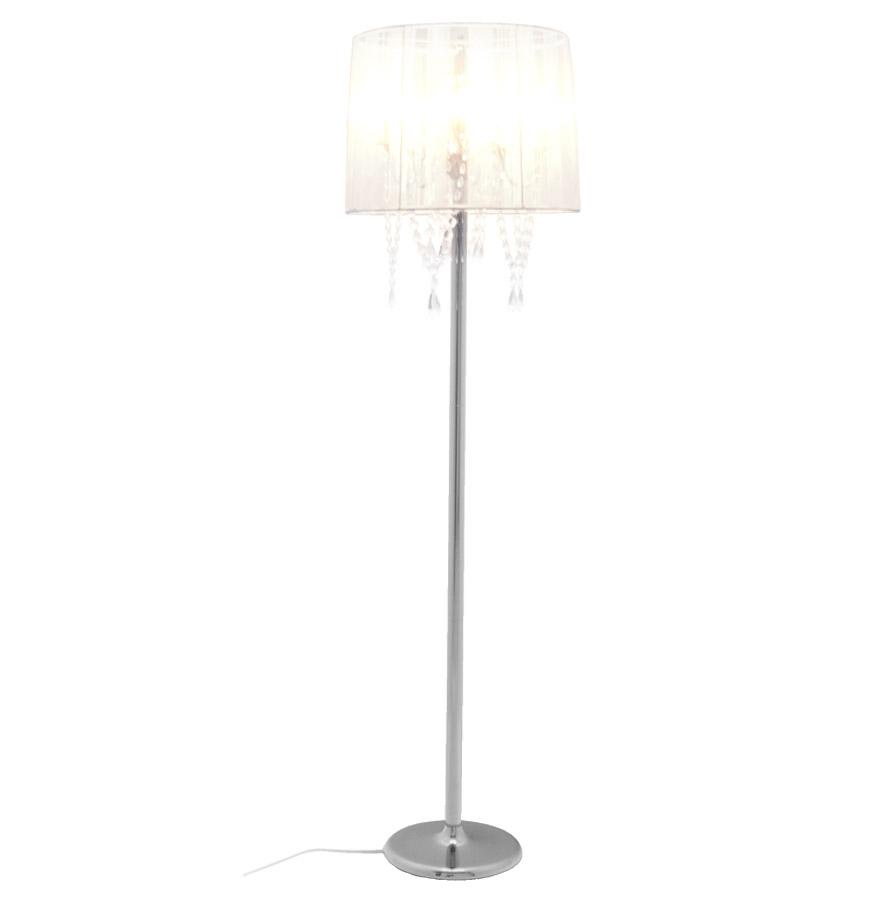 Lampadaire chandelier baroque ´BAROK´ à pampilles tissu blanc