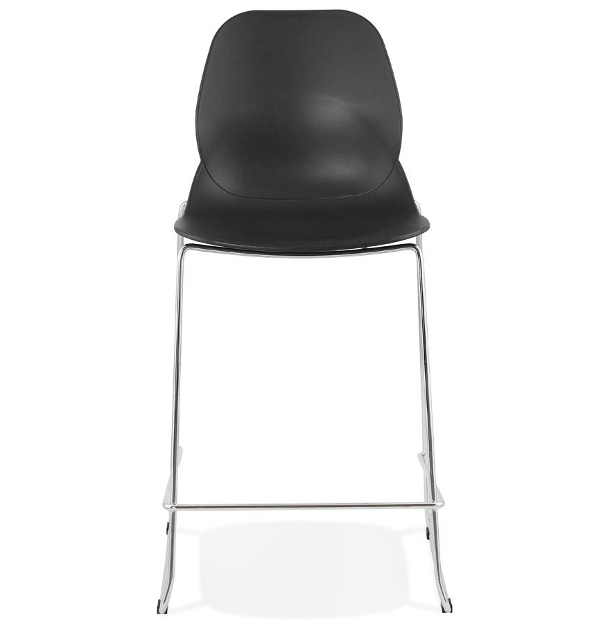 Tabouret snack mi-hauteur ´BERLIN MINI´ noir empilable avec pied en métal chromé