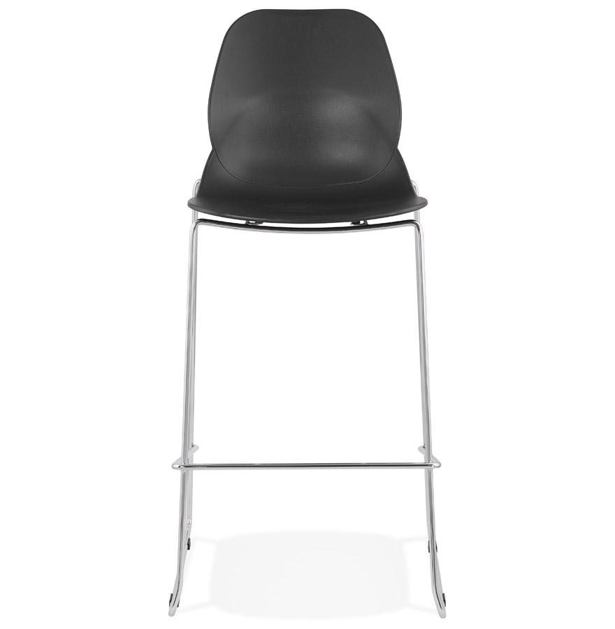 Tabouret de bar design empilable ´BERLIN´ noir avec pied en métal chromé
