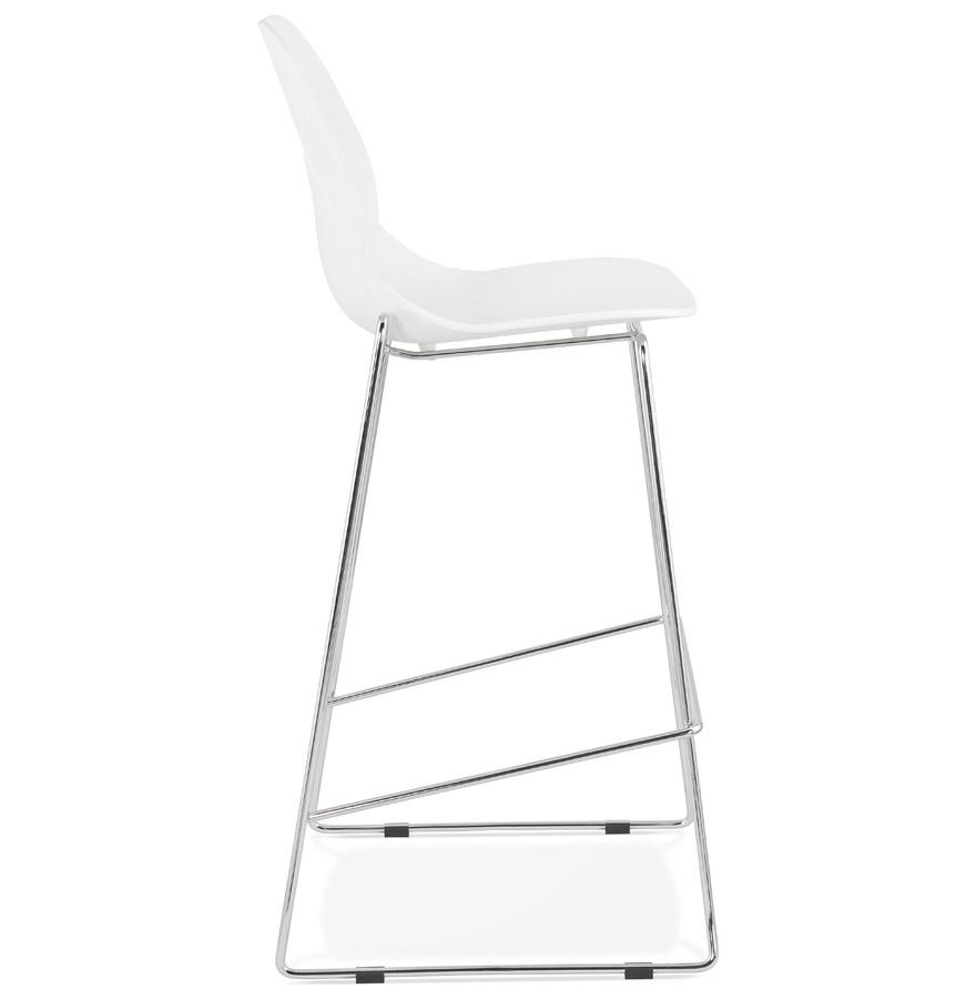 Tabouret de bar design empilable ´BERLIN´ blanc avec pied en métal chromé