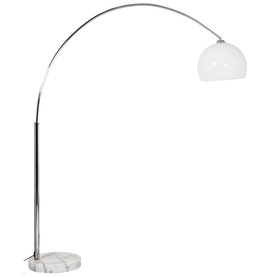 Lampadaire design en arc ´BIG BOW XL´ abat-jour blanc