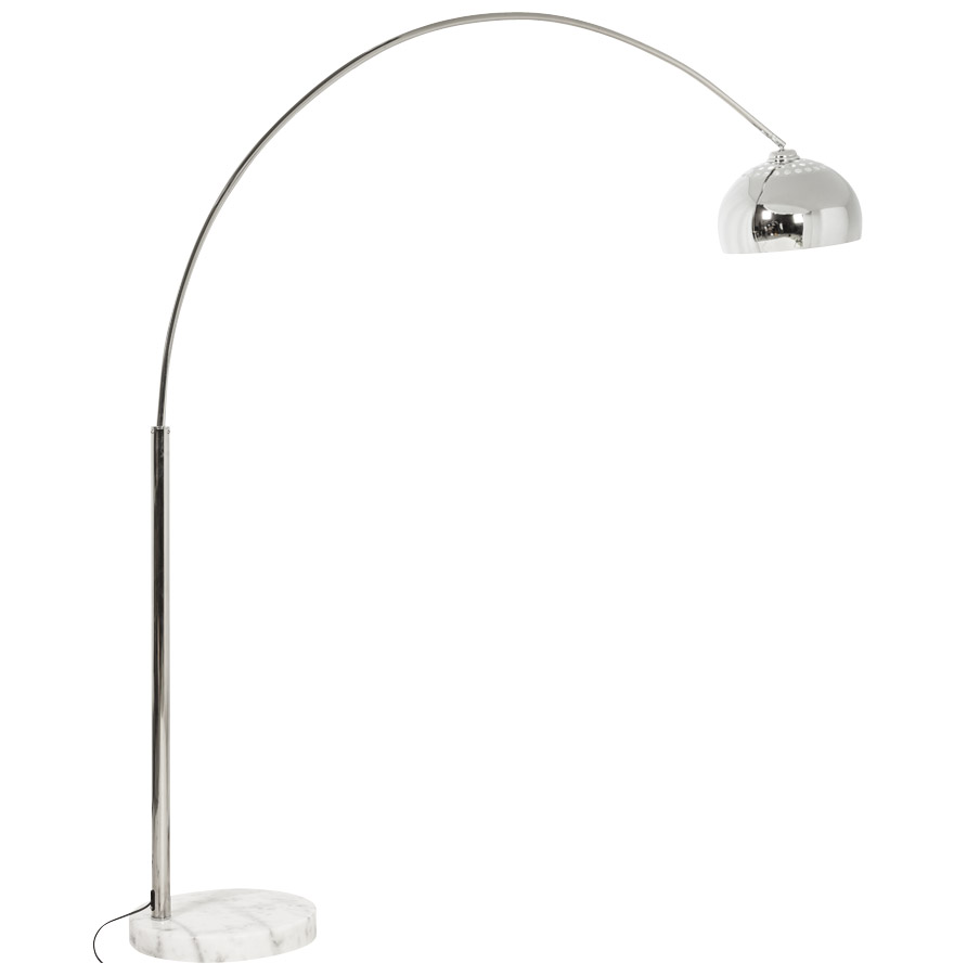 Lampadaire design en arc ´BIG BOW XL´ abat-jour chromé