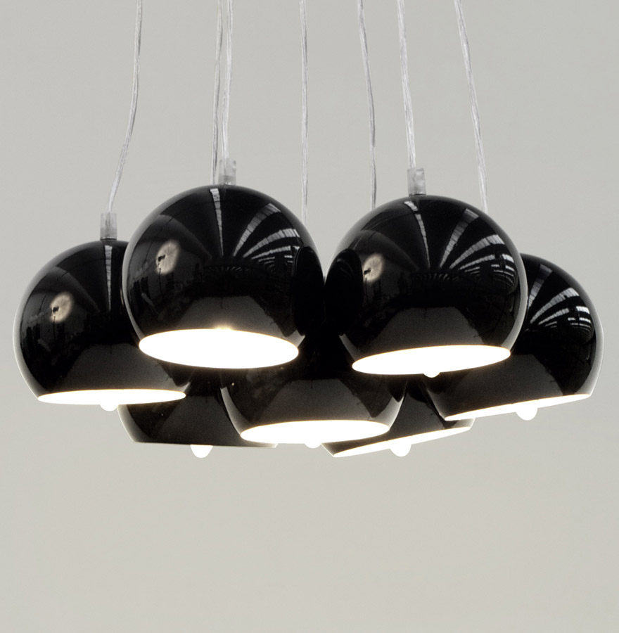 bilbo black newsite 02 - Suspension design ´BILBO´ 7 boules noires suspendues