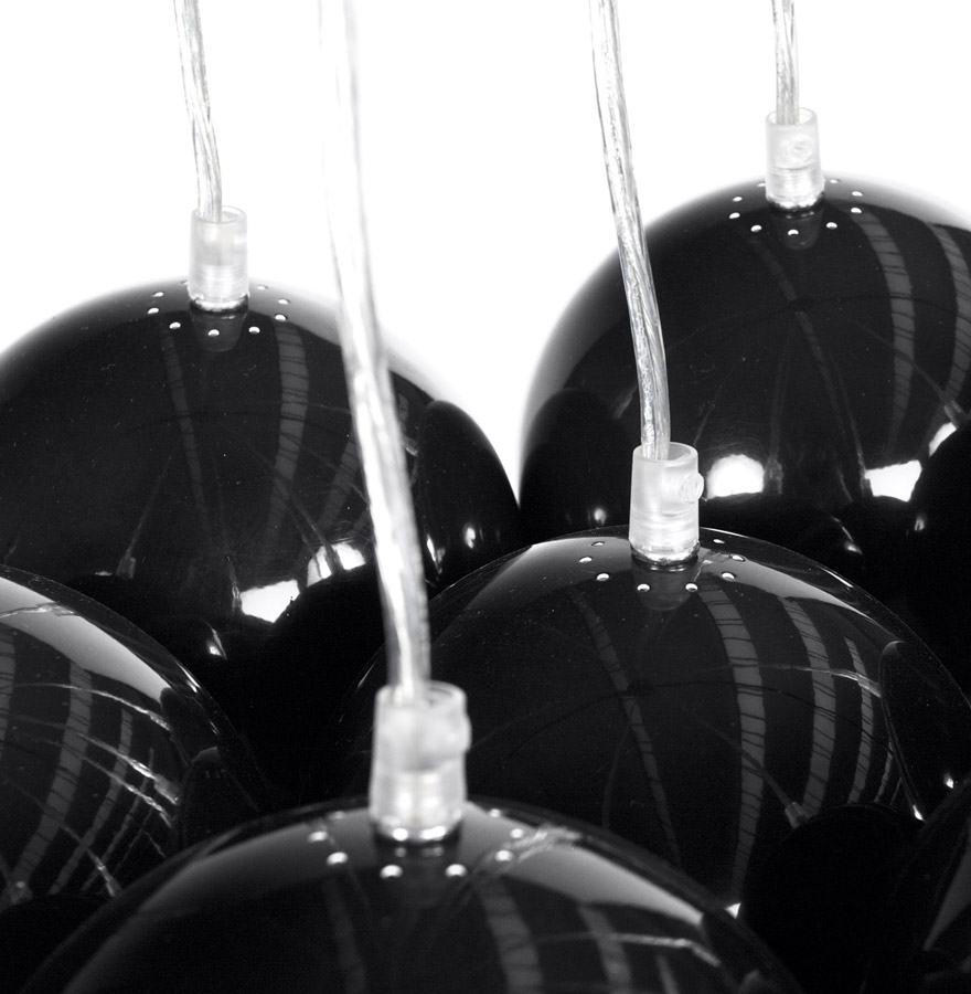 bilbo black newsite 03 - Suspension design ´BILBO´ 7 boules noires suspendues