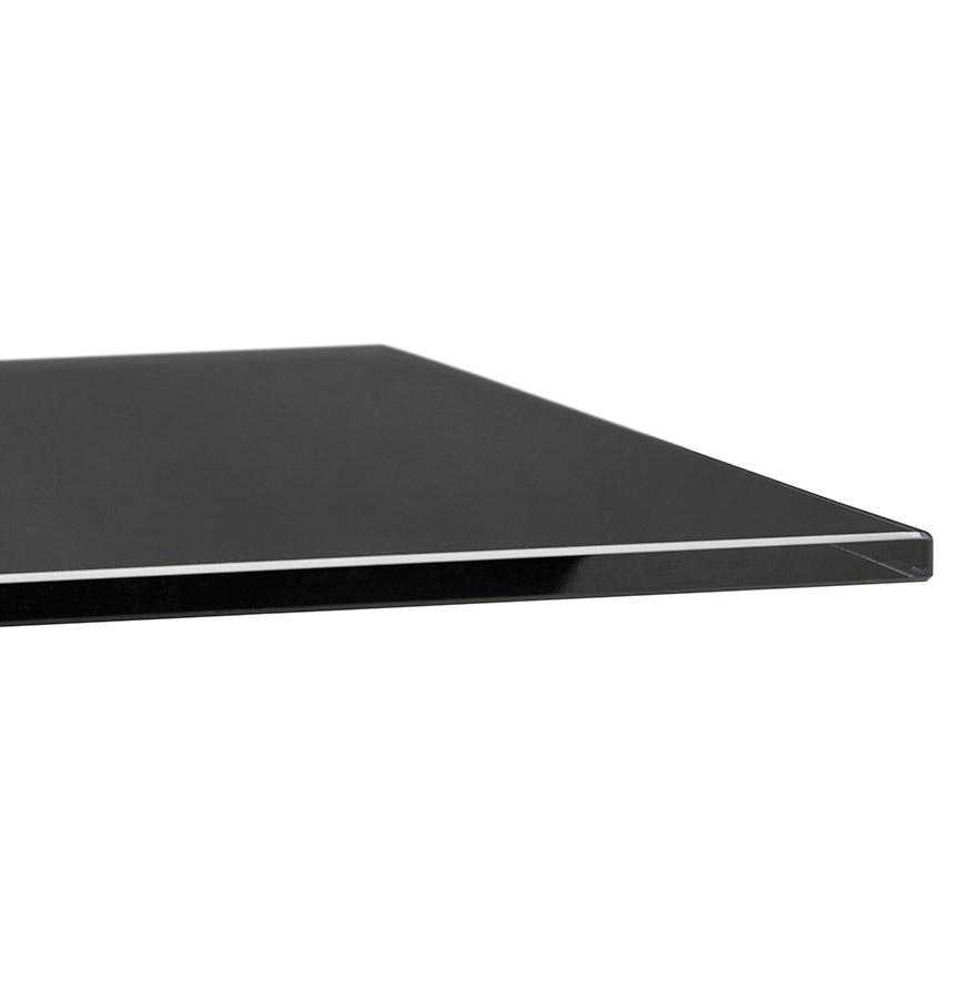 eettafel birdy in zwart glas met metalen centrale voet. Black Bedroom Furniture Sets. Home Design Ideas