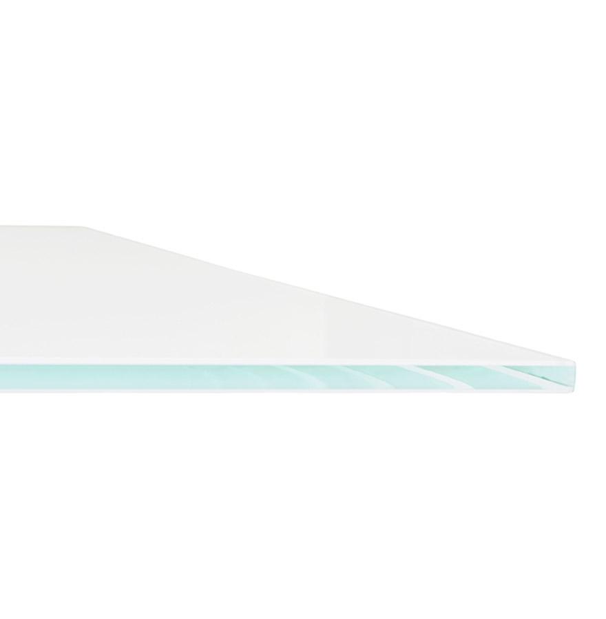 eettafel birdy in wit glas met x vormige centrale voet. Black Bedroom Furniture Sets. Home Design Ideas