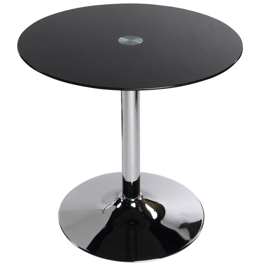 table d 39 appoint bistro ronde en verre noir table design. Black Bedroom Furniture Sets. Home Design Ideas