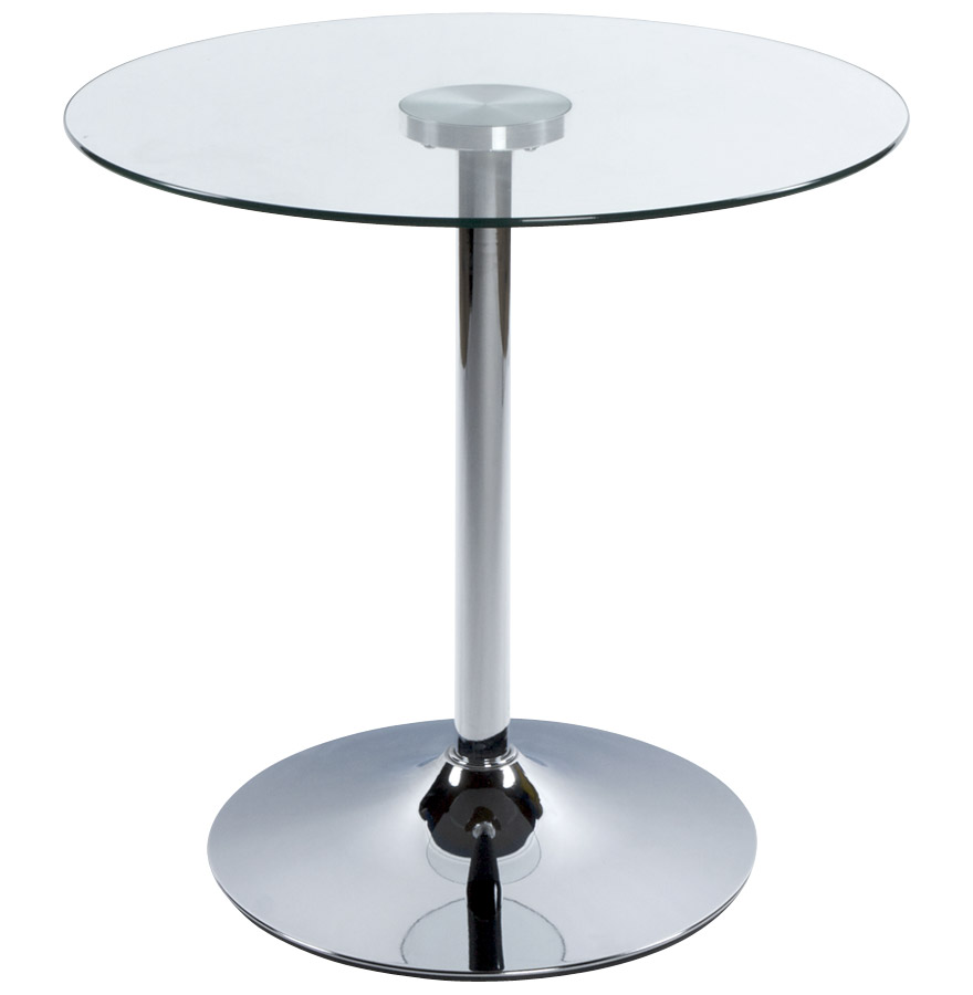 table d 39 appoint bistro ronde en verre transparent table. Black Bedroom Furniture Sets. Home Design Ideas