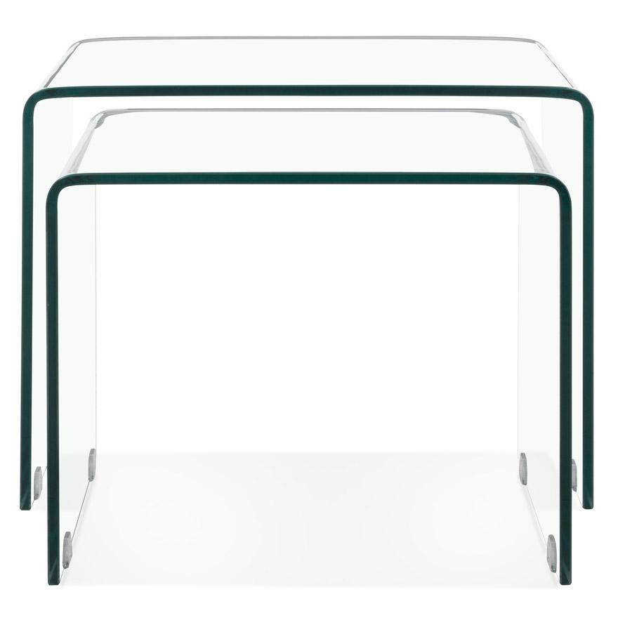 Design Glazen Bijzettafeltjes.Set Van Twee Design Bijzettafeltjes Bobby Double Side Van Transparant Glas