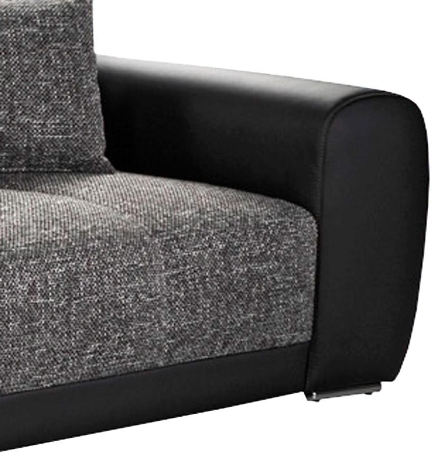 grote rechte zitbank byouty zwart met 4 zitplaatsen in imitatieleer en stof. Black Bedroom Furniture Sets. Home Design Ideas