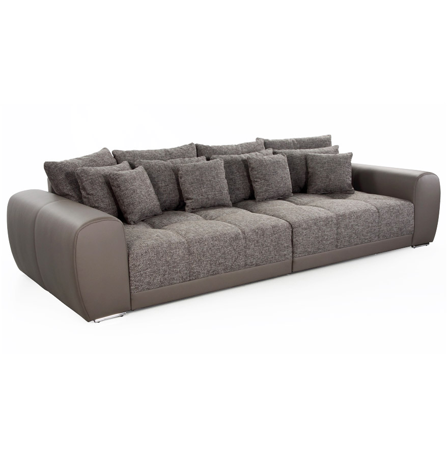grand canap droit byouty 4 places taupe et tissu. Black Bedroom Furniture Sets. Home Design Ideas