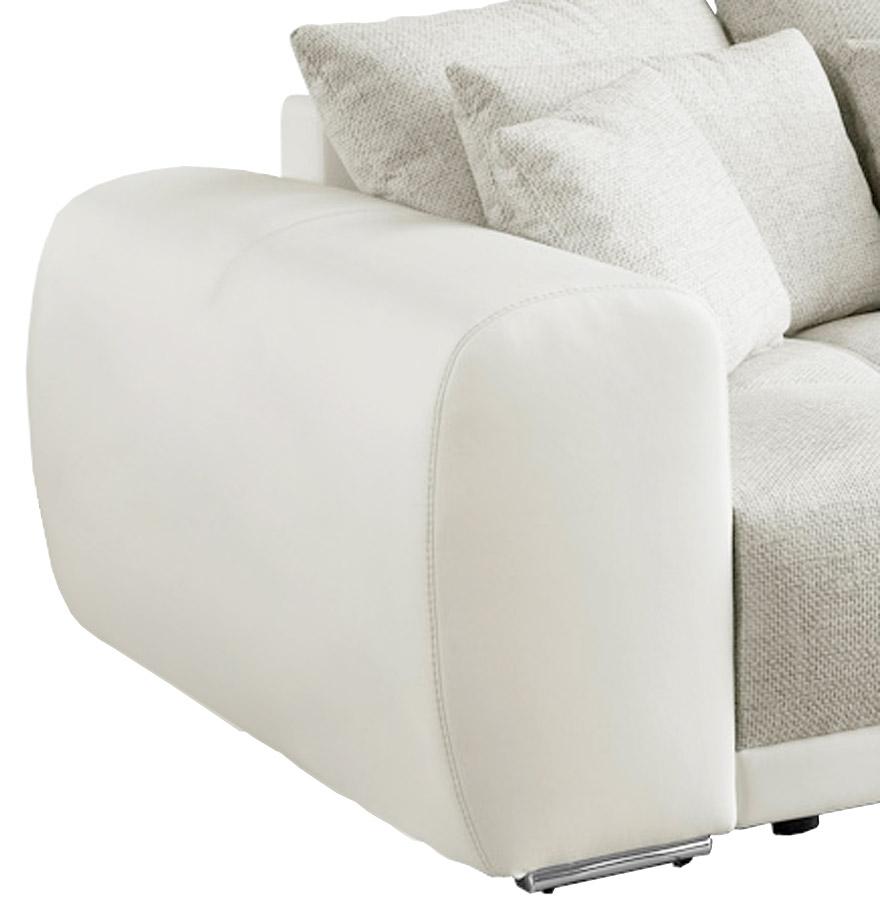 Grand canapé droit ´BYOUTY´ blanc et gris clair 4 places en matière synthétique et tissu