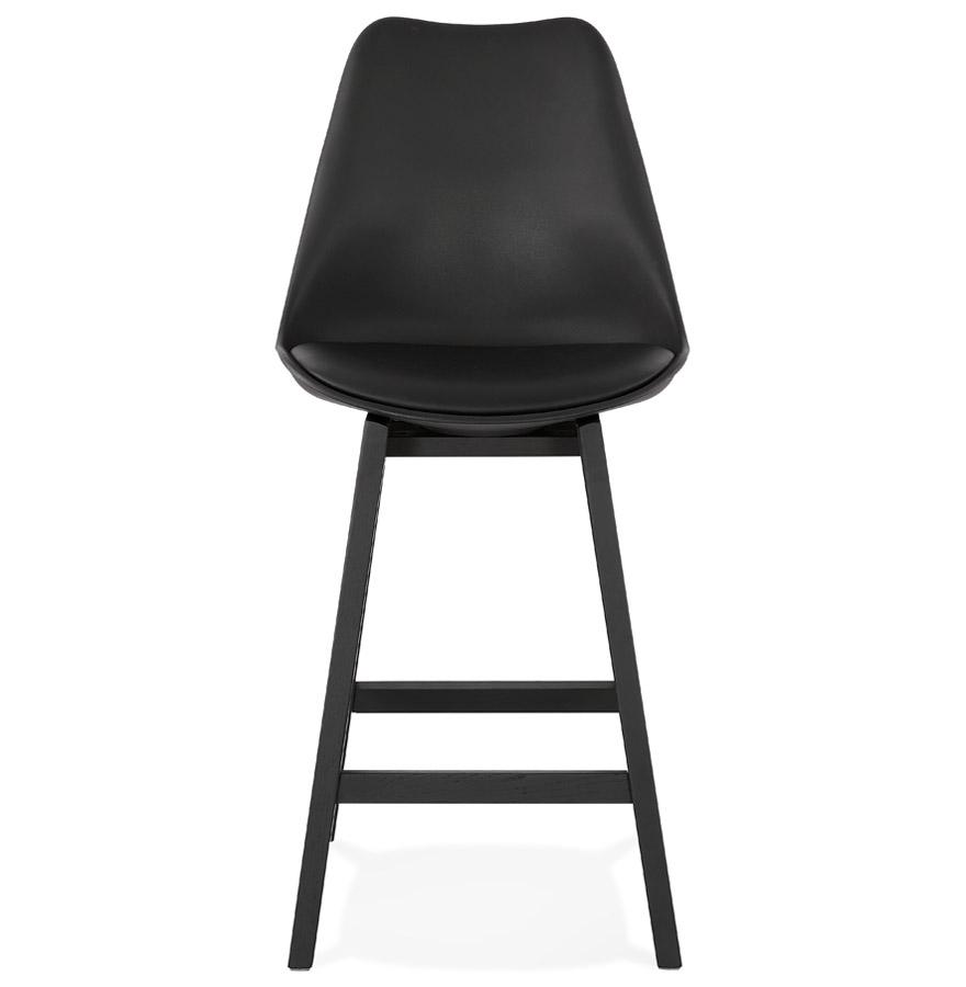 camila mini black black h2 02b - Tabouret snack mi-hauteur ´CAMILA MINI´ noir avec pied en bois noir
