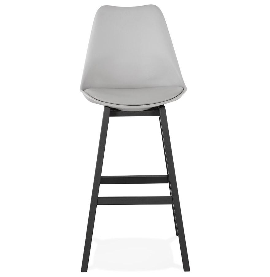 Tabouret de bar ´CAMILA´ gris avec pied en bois noir