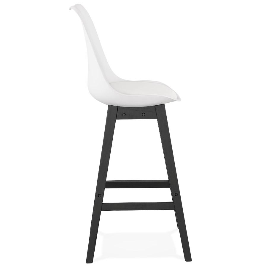 Tabouret de bar ´CAMILA´ blanc avec pied en bois noir