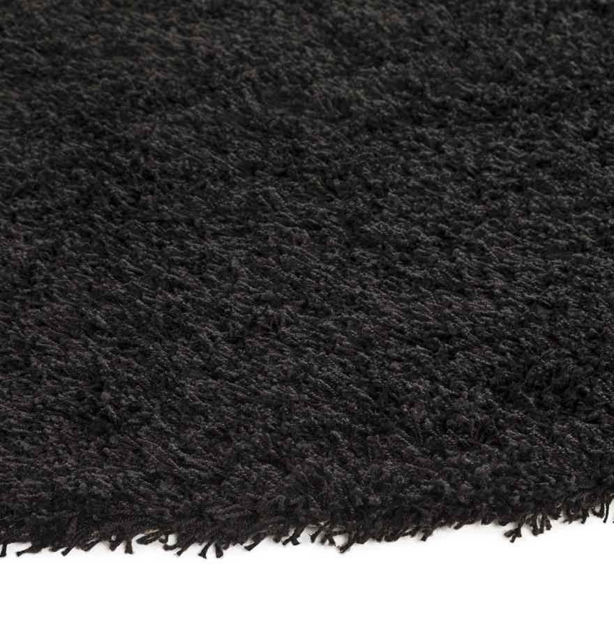 tapis design cava tapis rond poils longs noir 200 cm. Black Bedroom Furniture Sets. Home Design Ideas