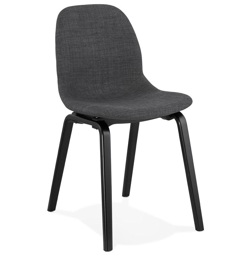 chaise de salle manger celtik en tissu gris et pieds en bois noir. Black Bedroom Furniture Sets. Home Design Ideas