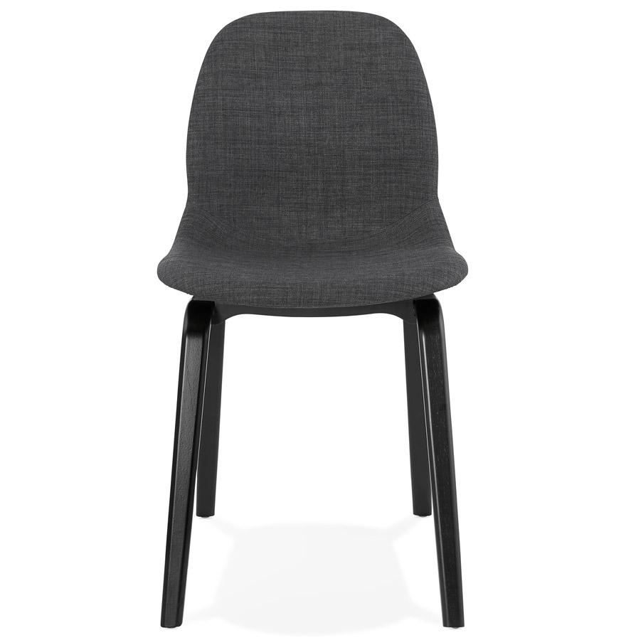 Chaise de salle à manger ´CELTIK´ en tissu gris et pieds en bois noir