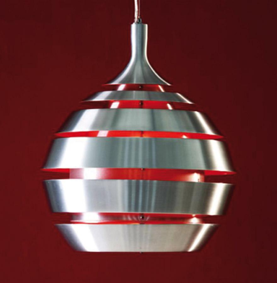 Suspension design ´COSMO´ aluminium brossé et intérieur rouge