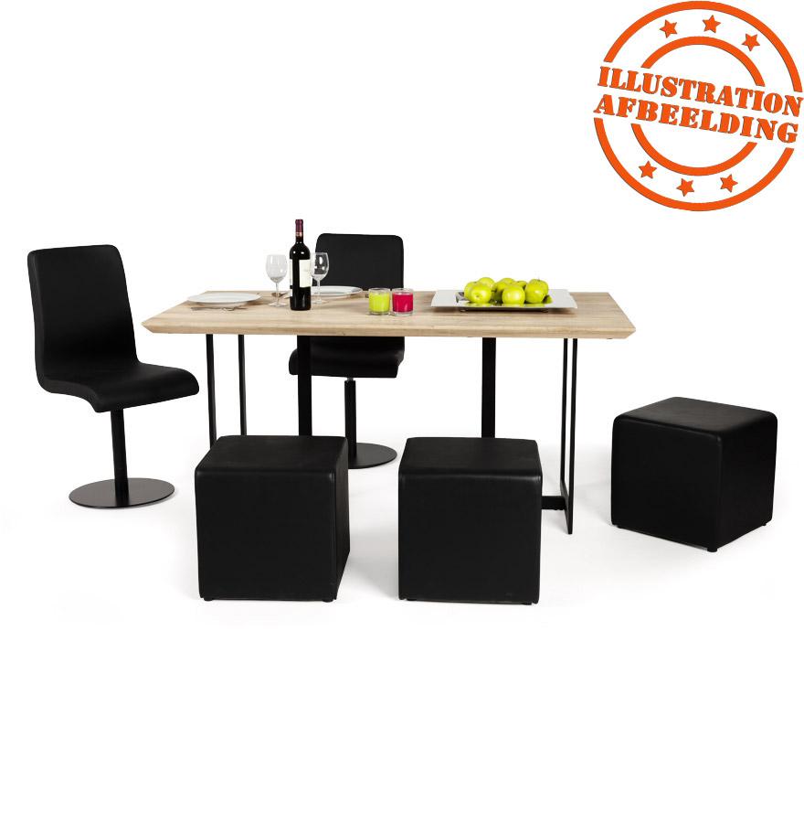 poef cube voor de woonkamer uit zwart imitatieleder. Black Bedroom Furniture Sets. Home Design Ideas