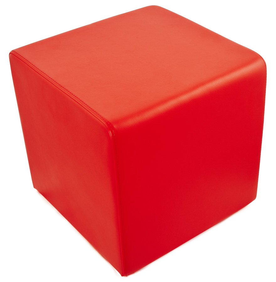 Pouf ´CUBE´ de salon en matière synthétique rouge